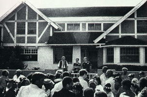 People gathering outside Marvin Gaye's residence following the singer's fatal shooting, April 1, 1984.